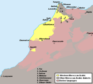 Western Morocco Arabic - Map showing Western Moroccan Arabic speaking areas (yellow)