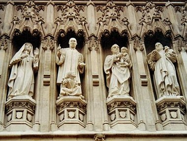 From the Gallery of 20th century martyrs at Westminster Abbey- Mother Elizabeth of Russia, Rev. Martin Luther King, Archbishop Oscar Romero, Pastor Dietrich Bonhoeffer