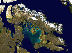 Satellite image of Baffin Island, the Baffin Mountains are seen in northeastern Baffin Island