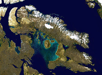 Arctic Archipelago - Satellite image of Baffin Island, the largest island by total area of the Arctic Archipelago