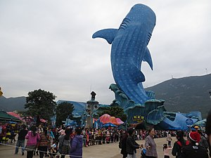 Chimelong Ocean Kingdom - Whale shark statue at the aquarium