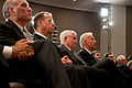 White House Chief of Staff William Daley, Chairman of the Joint Chiefs Admiral Michael Mullen, Defense Secretary Robert Gates, and Vice President Joe Biden at the National Defense University 2.jpg