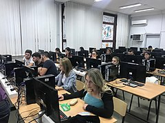 WikiGap volunteers working on creating new content in Macedonian on women.jpg