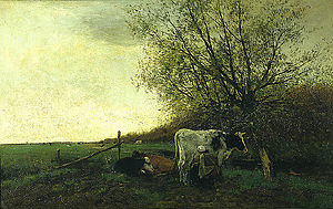 Willem Maris - Milking Time - Oil on canvas.