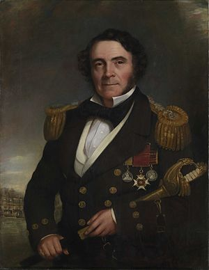 William Hutcheon Hall - Hall carrying a sword presented to him by the crew of the Nemesis. In the background is the bombardment of Bomarsund.