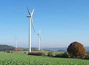 The largest wind farm and solar power capacity in the world is installed in Germany. Renewable energy is generating 14% of the country's total electricity consumption in 2007.