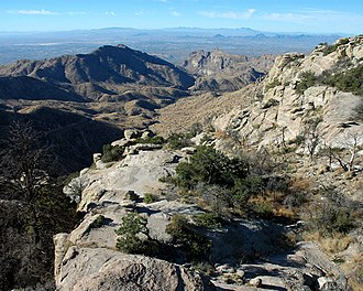 A view of Tucson from Windy Point, at an elevation of 6,580 feet (2,010 m), along the road up Mt. Lemmon Windy600.jpg