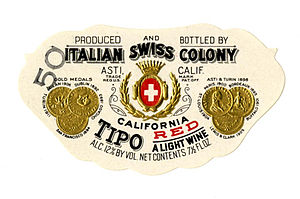 Asti, California - Image: Wine label, Italian Swiss Colony, Tipo California Red