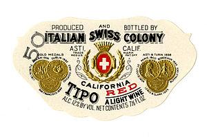 Italian Swiss Colony (wine) - Image: Wine label, Italian Swiss Colony, Tipo California Red