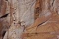 Wingate Sandstone (Upper Triassic) with desert varnish, Fremont Petroglyphs Cliff, Capitol Reef National Park, southern Utah 11 (8445592654).jpg