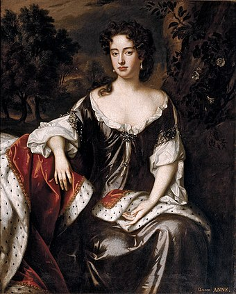 After the death of her last child in 1700, Princess Anne became the last individual left in the line of succession determined by the Bill of Rights. Wissing, Willem - Queen Anne, 1687.jpg