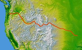 The route of the Oregon Trail shown on a map of the western United States from Independence, Missouri (on the eastern end) to Oregon City, Oregon (on the western end)