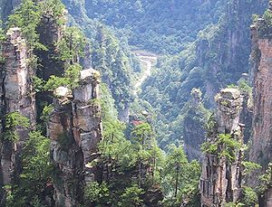 The sandstone pillars of Wulingyuan extend hundreds of meters over the valley floor.