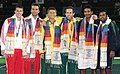 XIX Commonwealth Games-2010 Delhi Tennis (Men's Double) Paul Hanley and Peter Luczak of Australia (Gold), Ross Hutchins and Ken Skupski of England (Silver) and Mahesh Bhupati and Leander Paes of India (Bronze).jpg