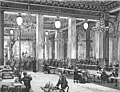 Yablochkov candles illuminating Music hall on la Place du Chateau d'eau ca 1880.jpg