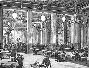 Yablochkov candle - Image: Yablochkov candles illuminating Music hall on la Place du Chateau d'eau ca 1880