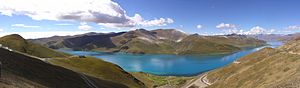 Yamdrok Lake - photographed from the Gampa pass (on the road between Lhasa and Gyantse)