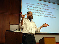 High-res image of Yochai Benkler giving a talk at Boalt Hall on 27 April 2006 on his book, The Wealth of Networks.
