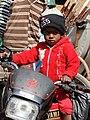 Young Boy on Motorbike - Working-Class Neighborhood - Suburban Kolkata - India (12287485634).jpg