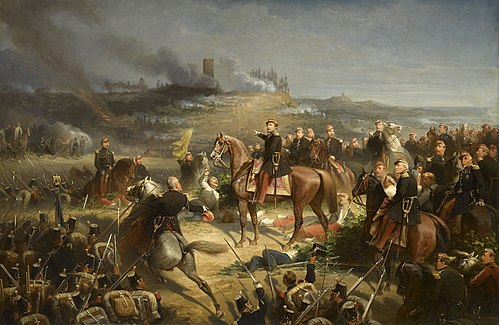 Napoleon III with the French forces at the Battle of Solferino, which secured the Austrian withdrawal from Italy. Yvon Bataille de Solferino Compiegne.jpg
