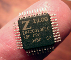 Quad Flat Package - A Zilog Z80 in a 44-pin QFP package (special case: LQFP).
