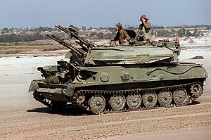 Self-propelled anti-aircraft weapon - Soviet-made ZSU-23-4 in California. The ZSU-23 is the canonical modern SPAAG system.