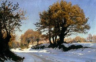 Christian Zacho - Christian Zacho: Winter Scene in Brittany; First Snow (1881)