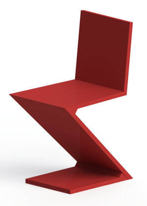 Zig-Zag Chair - Zig Zag chair modelled and rendered in SolidWorks