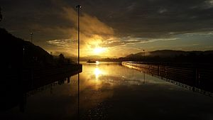 Winfield, West Virginia - Sunrise over the Kanawha River in Winfield