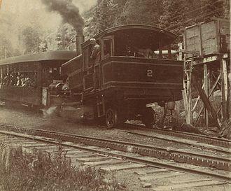 Manitou and Pike's Peak Railway - Passengers aboard a train ca. 1890