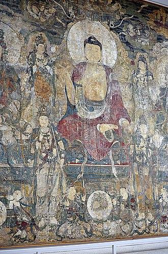 """Bhaisajyaguru - Image: """"Paradise of Bhaisajyaguru"""" Buddha wall mural in the Met museum"""