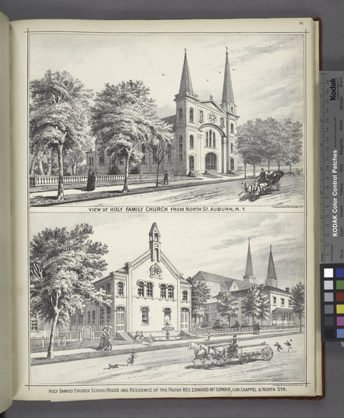 "File:""View of Holy Family Church from North St. Auburn, N.Y; Holy Family Church School-House and Residence of the Pastor Rev. Edward Mc. Gowan, Cor. Chapel and North Str."" NYPL1583078.tiff"
