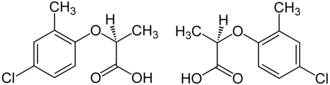 Mecoprop - Structures of the two enantiomeric forms (S left, R right) of mecoprop