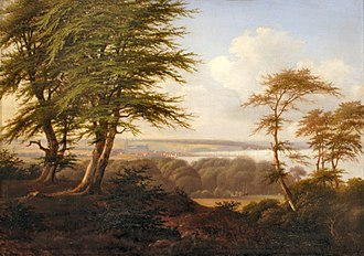 Marselisborg Forests - Aarhus seen from Moesgård. Painting from the 1800s by Peter Holm.