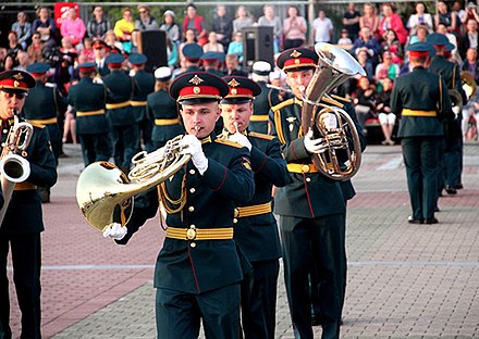 Regional and local garrisons/military districts in Russia also maintain their own musical support services, such as the Military Band of the Eastern Military District. Mezhdunarodnogo voenno-muzykal'nogo festivalia <<Amurskie volny-2018>> 07.jpg