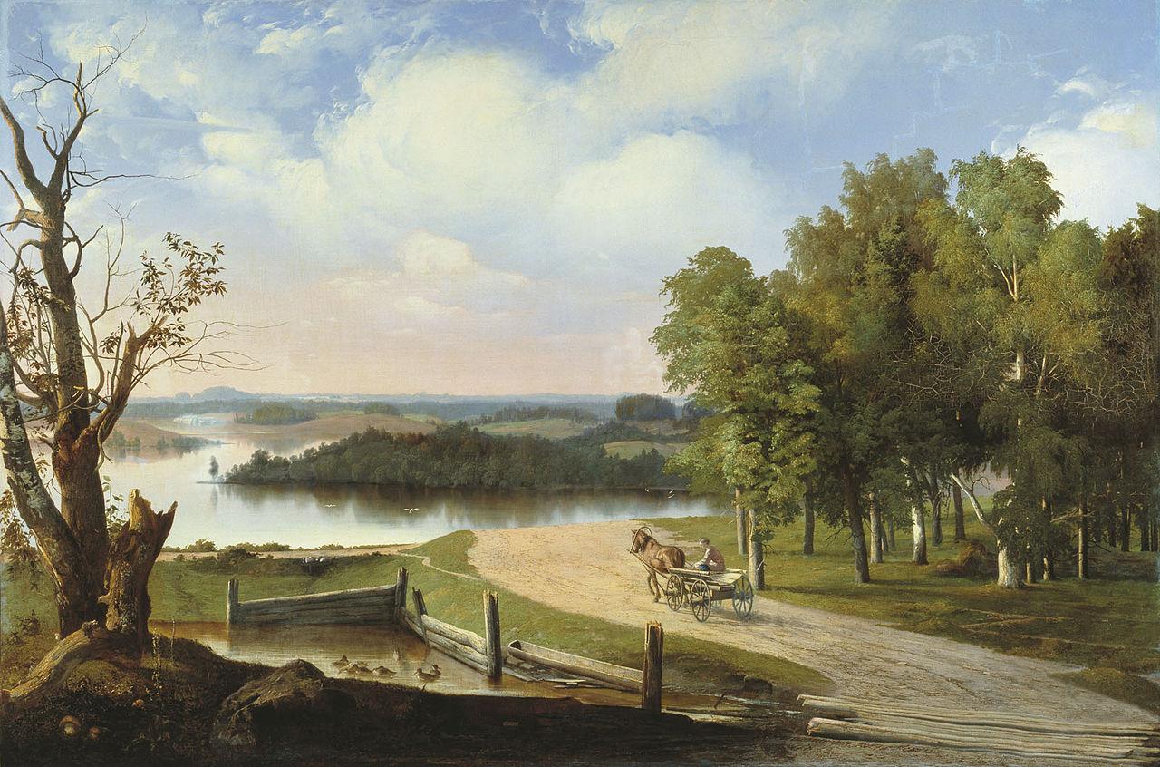 Пейзаж с ракой и дарогай.  1853.jpg