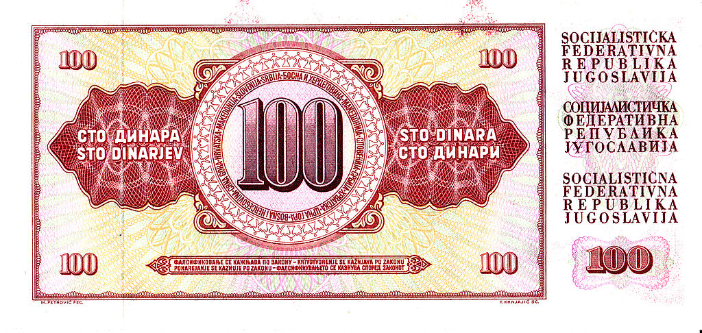 File:100 Yugoslav Dinar back.jpg - Wikimedia Commons