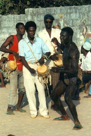 Music of the Gambia - Drummers at a Senegambian wrestling match