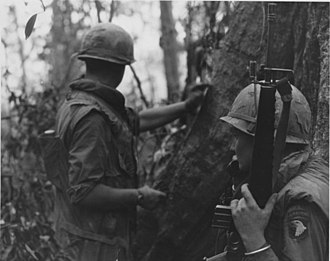 M16 rifle - 101st Airborne trooper carrying an M16A1 with a 20-round magazine during the Vietnam War, circa 1969