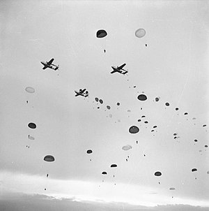 16th Airborne Division - Divisional parachute drop during Exercise King's Joker at the Stanford Parachute Training Area in Kent