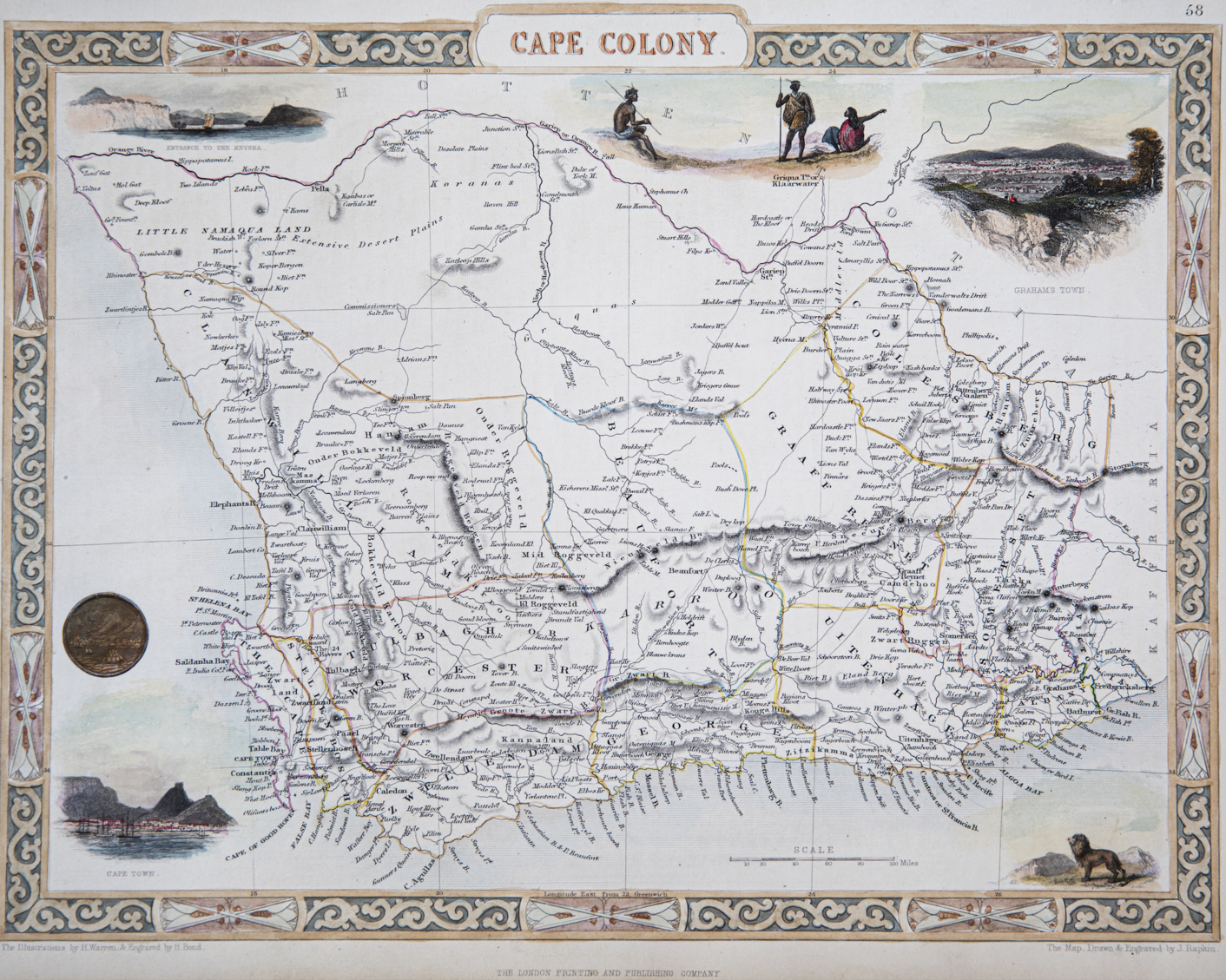 Tallis Map of the Cape Colony, 1850. 1850 Tallis Map of the Cape Colony.png