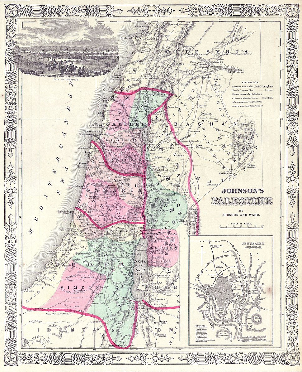 1864 Johnson Map of Israel, Palestine, or the Holy Land - Geographicus - Palestine-j-64
