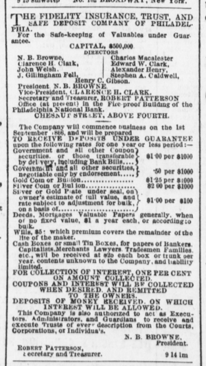 Fidelity Trust Company - Image: 1866 Fidelity ad in Evening Telegraph