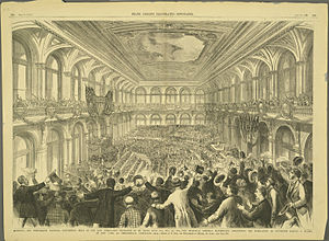 United States presidential election, 1876 - Interior of the Merchants Exchange Building of St. Louis, Missouri, during the announcement of Samuel J. Tilden as the Democratic presidential nominee