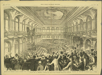 1876 United States presidential election - Interior of the Merchants Exchange Building of St. Louis, Missouri, during the announcement of Samuel J. Tilden as the Democratic presidential nominee
