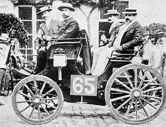 Peugeot Type 5 - Paris-Rouen 1894. Albert Lemaître (pictured on left) was classified 1st in his Peugeot 3hp. Bicycle manufacturer Adolphe Clément-Bayard was the front passenger.
