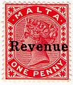 1899 1d carmine red revenue stamp of Malta.jpg