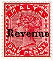 1899 1d carmine red revenue stamp of Malta.jpg