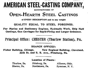 Standard Steel Casting Company - An 1899 advertisement for Standard Steel's successor, the American Steel Casting Company, which was headquartered at Thurlow Works