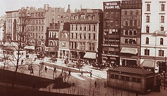 Tremont Theatre, Boston (1889) - Image: 1903 Panoramic view of Boston Common and Tremont Street by E Chickering LC detail